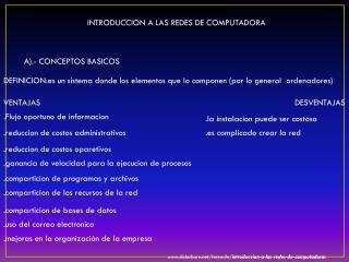 INTRODUCCION A LAS REDES DE COMPUTADORA