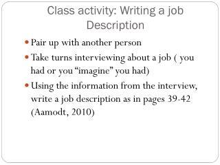 Class activity: Writing a job Description