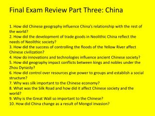 Final Exam Review Part Three