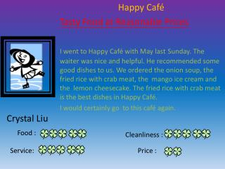 Happy Café Tasty Food at Reasonable Prices