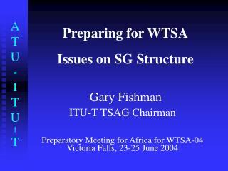 Preparing for WTSA