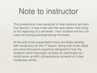 Note to instructor