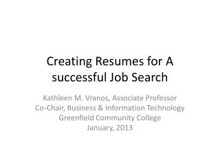 Creating Resumes for A successful Job Search