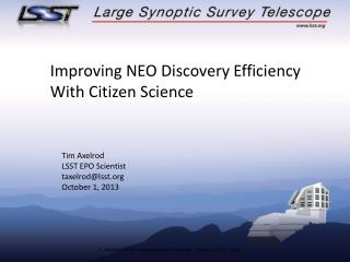 Improving NEO Discovery Efficiency With Citizen Science