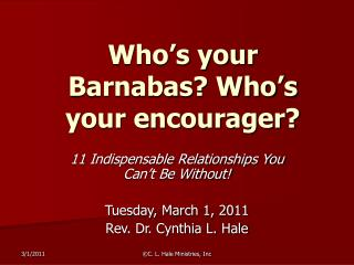 Who s your Barnabas Who s your encourager