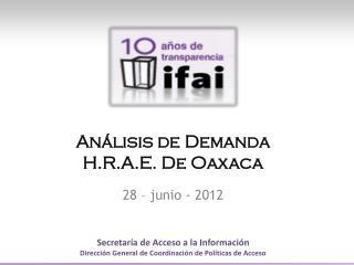 Análisis de  Demanda H.R.A.E. De Oaxaca