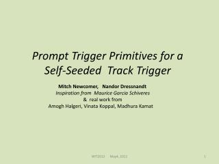 Prompt Trigger Primitives for a         Self-Seeded  Track Trigger