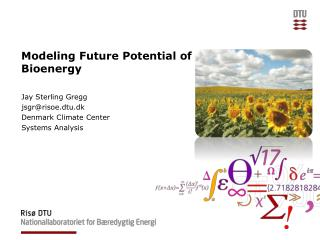 Modeling  Future Potential of Bioenergy
