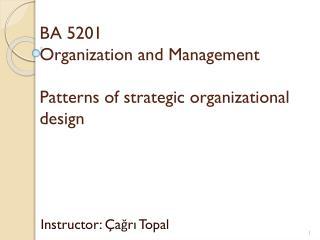 BA 5201 Organization and Management Patterns of strategic  organizational design