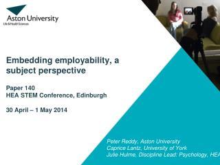 Peter Reddy ,  Aston  University  Caprice Lantz, University of York