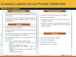 A Leading Logistics Service Provider, Middle East