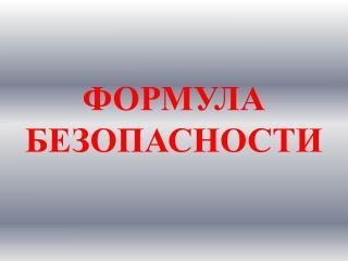 ФОРМУЛА БЕЗОПАСНОСТИ
