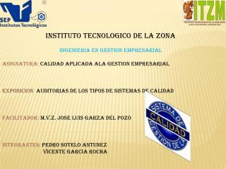 INSTITUTO TECNOLOGICO DE LA ZONA INGENIERIA EN GESTION EMPRESARIAL