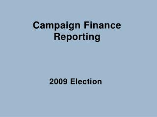 Campaign Finance Reporting