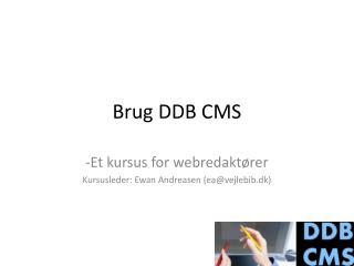 Brug DDB CMS