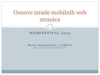 Osnove izrade mobilnih web stranica