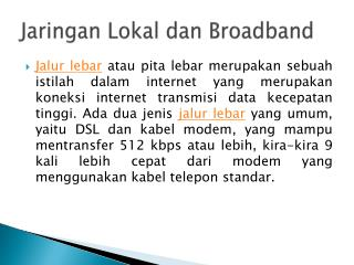Jaringan Lokal dan Broadband