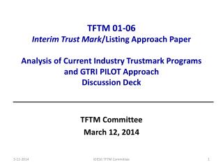 TFTM Committee March 12, 2014