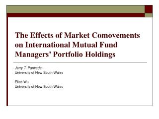 The Effects of Market Comovements on International Mutual Fund Managers  Portfolio Holdings