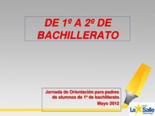 Jornada de Orientación para padres de alumnos de 1º de bachillerato Mayo  2012