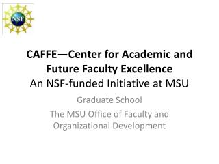 CAFFE—Center for Academic and Future Faculty Excellence An NSF-funded Initiative at MSU