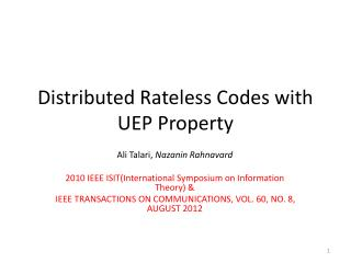 Distributed  Rateless  Codes with UEP Property