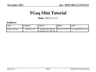 TGaq Mini Tutorial