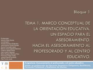 Asignatura: Asesoramiento al profesorado y al centro educativo