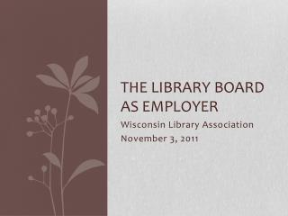 The Library Board as employer