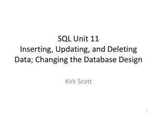 SQL Unit 11 Inserting, Updating, and Deleting Data; Changing the Database Design