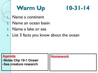 Warm Up 10-31-14