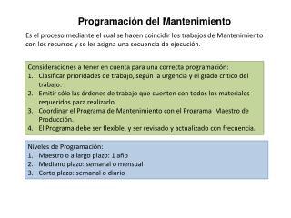 Programación del Mantenimiento