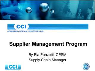 Supplier Management Program