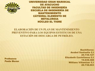 Bachilleres: Anabel Santaella C.I 20.739.127 Elizabeth Castellanos C.I 19.939.388
