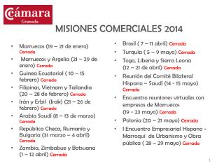 MISIONES COMERCIALES 2014