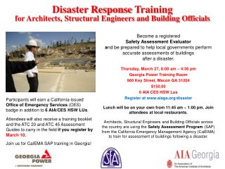 Disaster Response  Training for Architects, Structural Engineers and Building Officials
