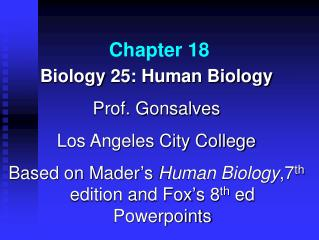 Biology 25: Human Biology Prof. Gonsalves Los Angeles City College Based on Mader s Human Biology,7th edition and Fox s