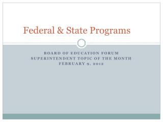 Federal & State Programs
