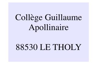 Collège Guillaume Apollinaire 88530 LE THOLY