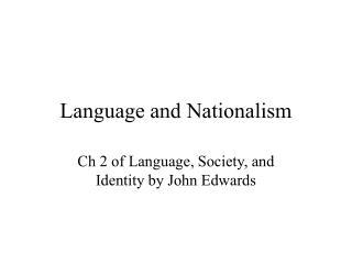 Language and Nationalism