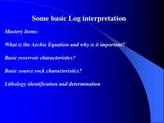 Some basic Log interpretation