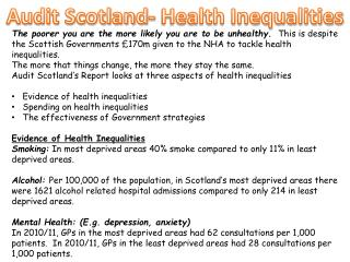 Audit Scotland- Health Inequalities