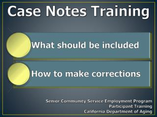 Case Notes  Training