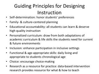 Guiding Principles for Designing Instruction