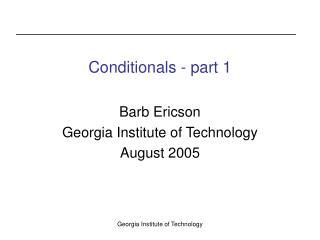 Conditionals - part 1
