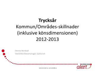 Trycksår Kommun/Områdes-skillnader (inklusive könsdimensionen) 2012-2013