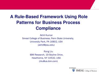 A Rule-Based Framework Using Role Patterns for Business Process Compliance