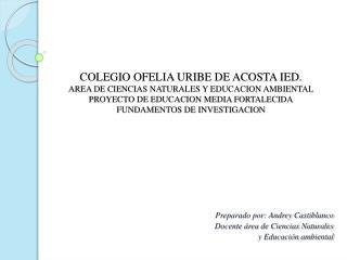 Preparado por: Andrey Castiblanco Docente área de Ciencias Naturales  y Educación ambiental