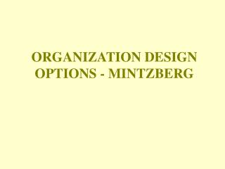 ORGANIZATION DESIGN OPTIONS - MINTZBERG