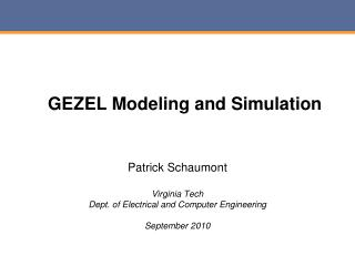 GEZEL Modeling and Simulation